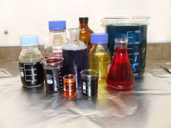 Various chemicals in containers, jars and beakers; the storage and use of toxic and hazardous substances can pose a risk to drinking water quality
