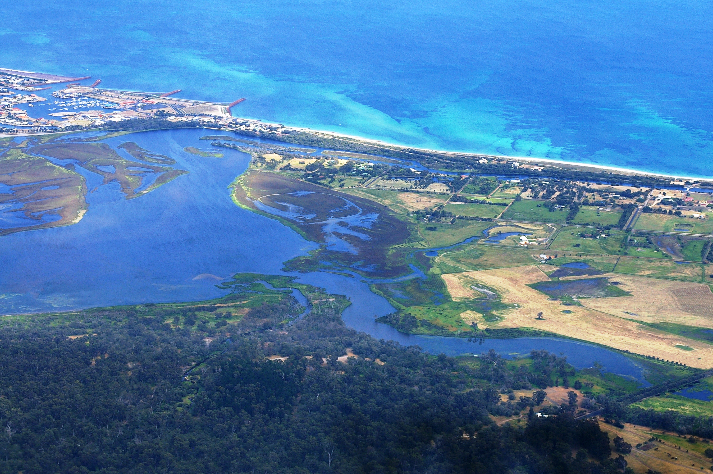 Aerial photo of the Hardy Estuary