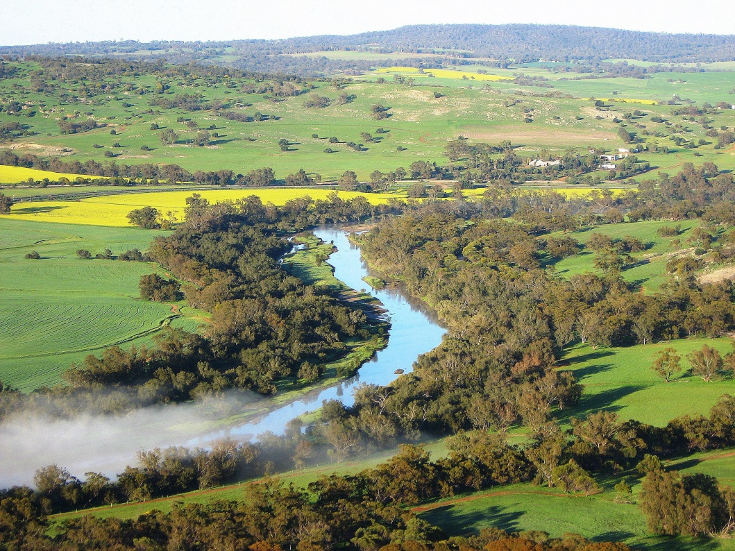 Modelling - aerial photo of river