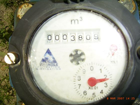 A Triangle meter showing a reading of 3809 kilolitres