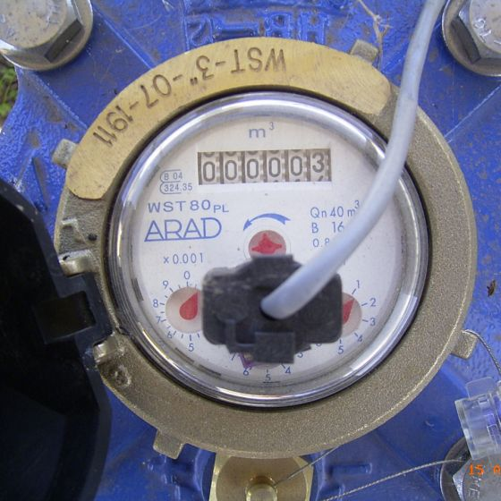 An Arad meter showing a reading of 3 kilolitres